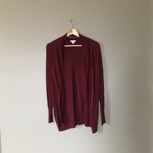 Maroon Mossimo Open Front Draping Cardigan